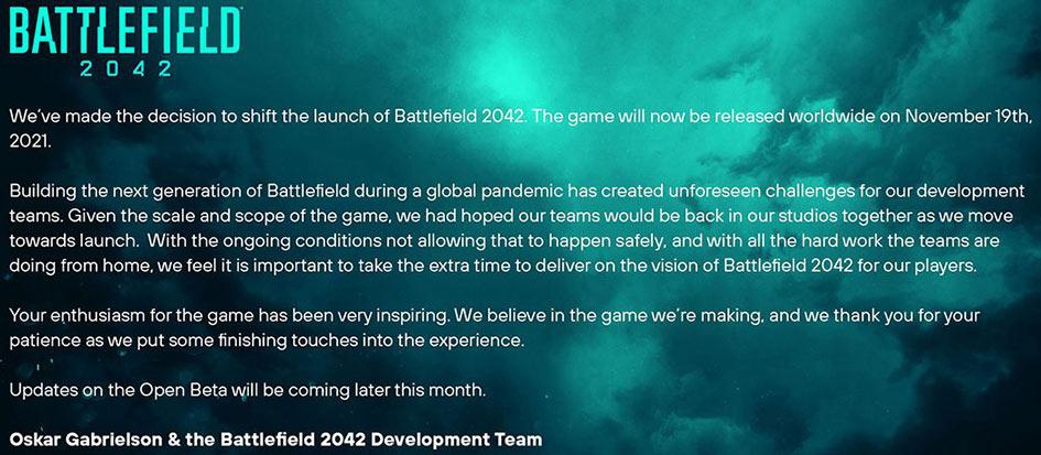Battlefield 2042 Delayed Till November